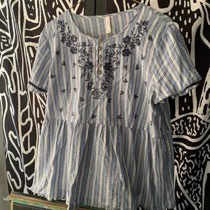 Blue and White Peplum Shirt by Xhilaration